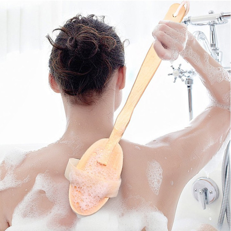 New 2 In 1 Long handle natural bristle body brush sales spa exfoliating massager wooden Bath Rub back brush towel