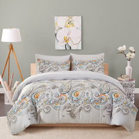 American Style Microfiber Fabric Bedding Sets for Adult Comforter Duvet Cover with 2pcs Pillowcase Geometry Printed Hot