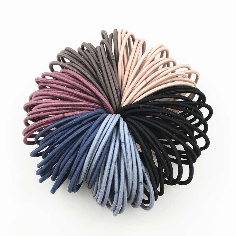 100Pcs/Set Lady Simple Basic Elastic Hair Bands Solid Hair Gums Ties Rubber Bands Ponytail Holders for Girls Hair Accessories