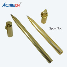 ACMECN 2pcs / lot Twin Pen Sets Office Writing 0.5mm Gel ink for Birthday Gifts Brass Handmade Pens Students 1714B-SL