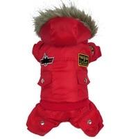 Medium Dog Clothes Winter USA Air Force Dog Coat Fleece Lined Hooded Trench Coat Dog Jumpsuit Bomber Pants Fur Trim