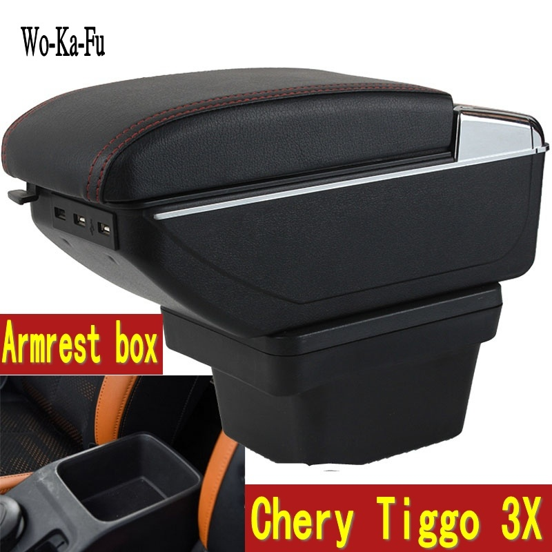 For Chery Tiggo 3X armrest box central Store content box with cup holder ashtray decoration With USB interface for chery tiggo 2 3x 2016 2017 2018 armrest box central store content box with cup holder ashtray decoration with usb interface