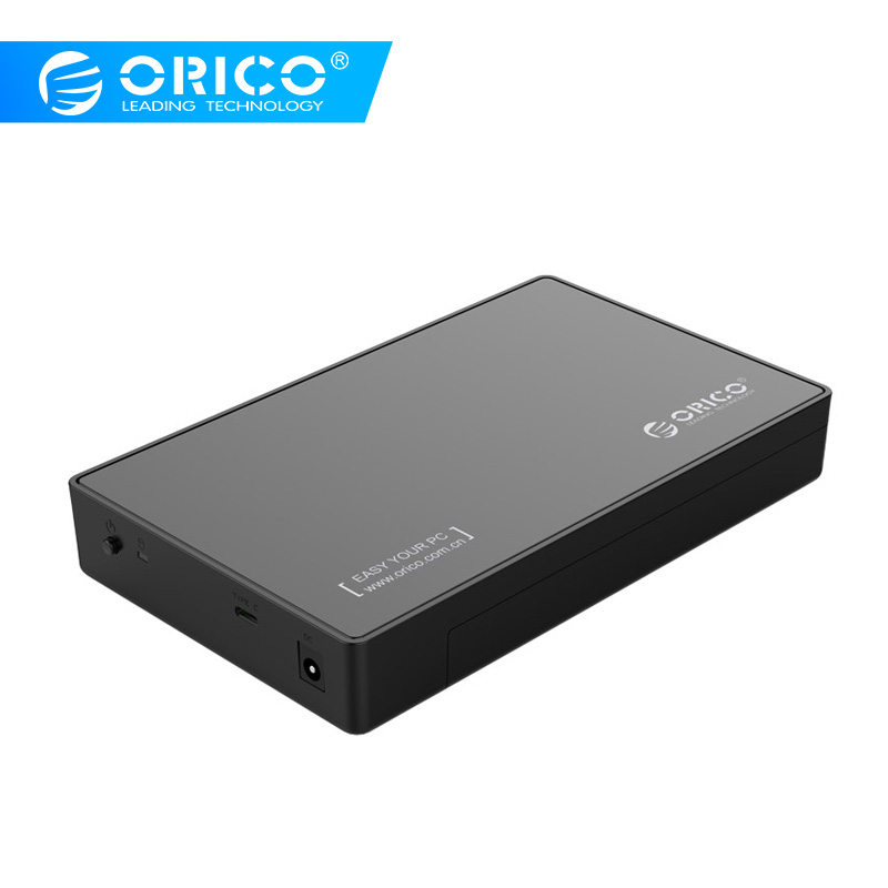ORICO 3588C3 2.5/3.5 Inch Type-C Hard Drive Enclosure With USB3.1 , 12V Power Adapter With TypeC To USB-A Cable - Black