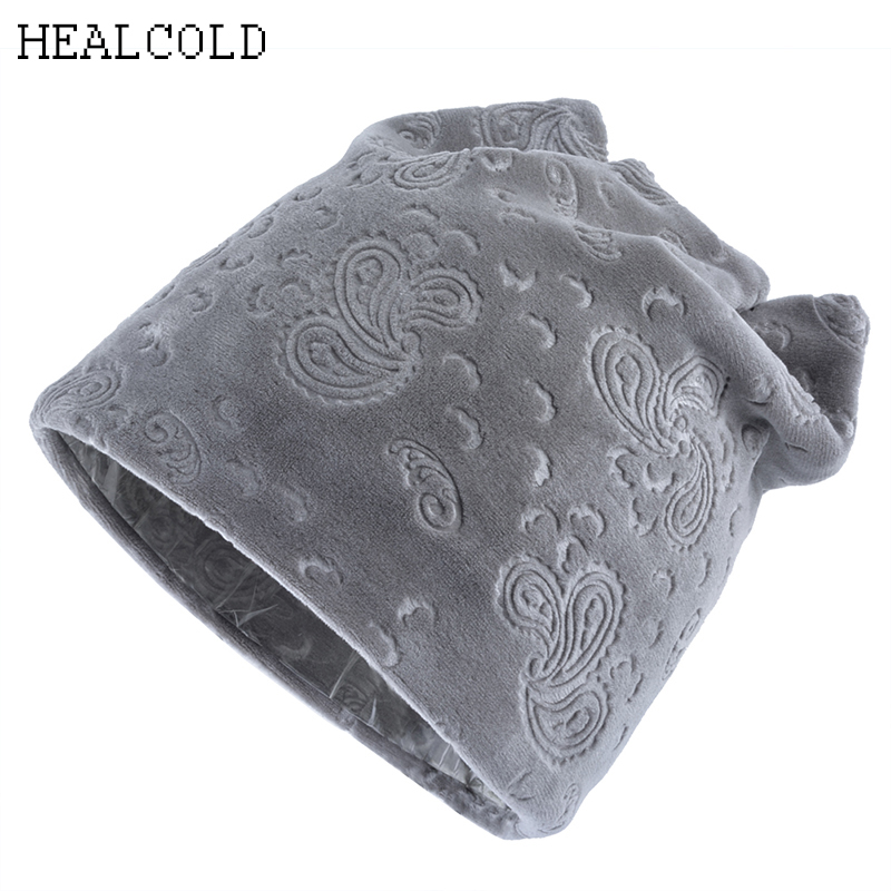 Fashion Brand Velvet Printed   Beanie   Hat Women Girls Cat Ears Cap Winter   Skullies     Beanies   Knitted Hats For Ladies
