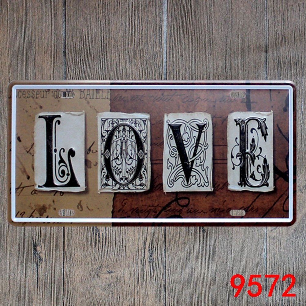Car number  LOVE  License Plates plate Vintage Metal tin sign Wall art craft painting 15x30cm