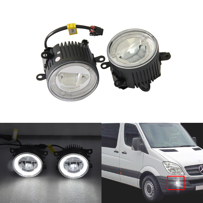 Direct Fit For Benz Sprinter 208-515 06-08 Front Led Fog Lights W/ Guide Angel Eyes DRL Halo Rings Car Styling Car Parts Lamp direct fit for benz sprinter 208 515 06 08 front led fog lights w guide angel eyes drl halo rings car styling car parts lamp