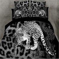 טקסטיל הבית, דפוס נמר שחור הדפסת 3D גודל מלכת מצעים קובע כיסויי מיטה ציפית גיליון כיסוי מיטת שמיכה 4 יחידות