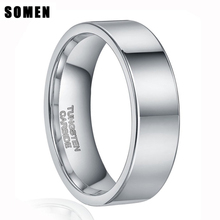 8MM Fashion Silver Tungsten Carbide Ring Men Wedding Rings Comfort Fit Beveled Edges Brushed Plain Band