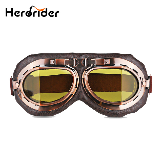 1709942a68c Herorider Foldable Aviator Vintage Motorcycle Goggles Motorbike Pilot  Vintage Helmet Goggles Glasses Retro With Lens