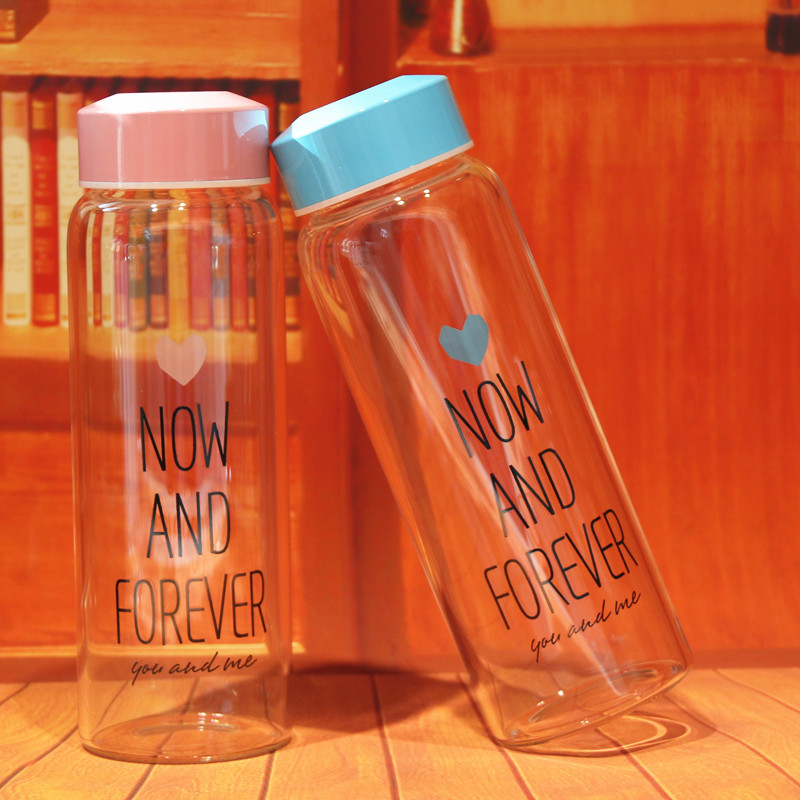New Cute Glass Transparent Water Bottles Bottle With Bag Leak Proof Water Bottle School Sports Drinkware for hot Women