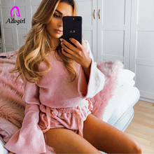 Adogirl Tracksuit Women 2 Piece Set Hoodies and Shorts Casual Woman Set Pink Flare Sleeve Lace Up Crop Top + Shorts Set Outfits ruffle trim lace up front crop cami and shorts set