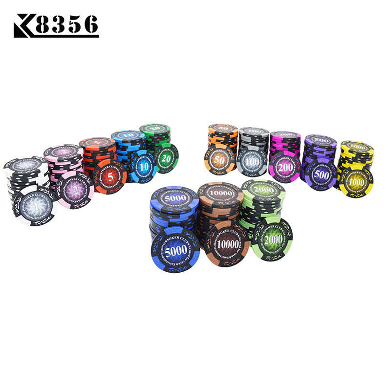 K8356 1PCS14g Crown Wheat PokerClub Film Chips Coins Baccarat Texas Hold'em Double Color Crown Clay Poker Playing Chips