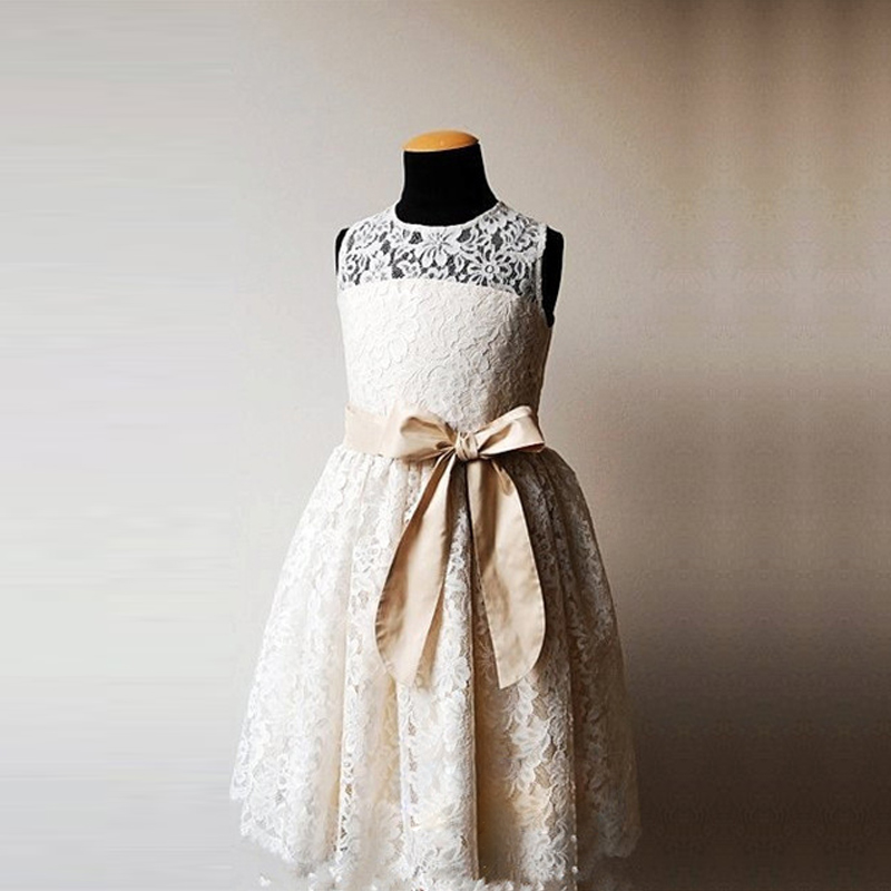 Hot Sale Summer Short White/Ivory Lace Flower Girl Dress with Bow Belt Vestido De Festa First Communion Dresses for Girls hot flower girl dress white a line bow sash sleeveless solid o neck girls first communion dress hot sale vestido de comunion