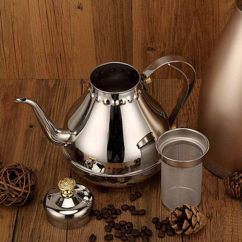 1 2L Sliver Stainless Steel Gooseneck Pour Coffee Drip Kettle Tea Filter Pot Thicken Coffee Tea