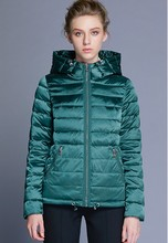 ICEbear Women's Winter Parkas 2018 Bright Colors Cotton Padded Jackets Hooded Collar Polyester Zippers Solid Thin Coat GWD18177D