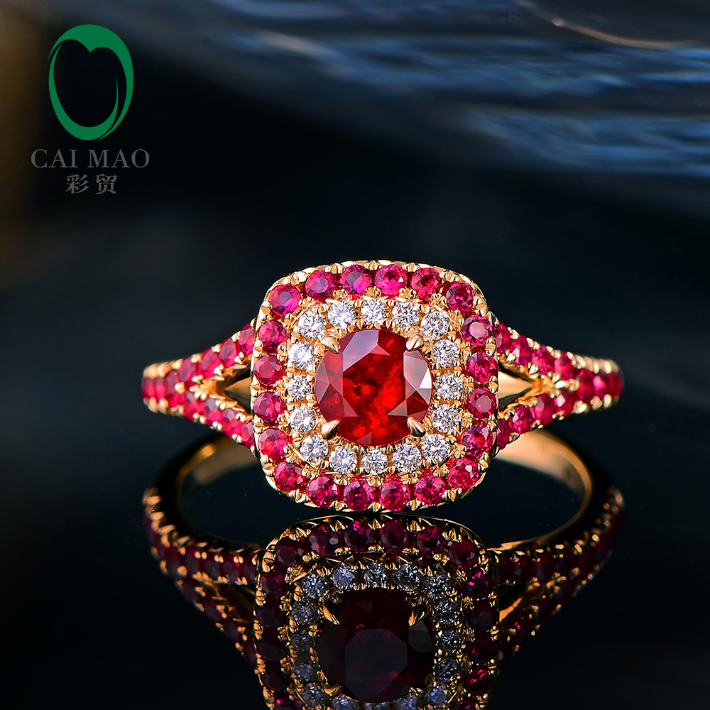 Caimao Natural Red Ruby 14kt Yellow Gold Halo Diamond and Ruby Engagement Ring free shipping 1 48ct 14k yellow gold red ruby and natural diamond ring jewelry