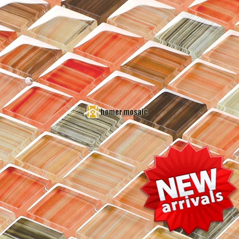 mezcla de orange crystal azulejos de mosaico de vidrio para bao ducha azulejos backsplash de la
