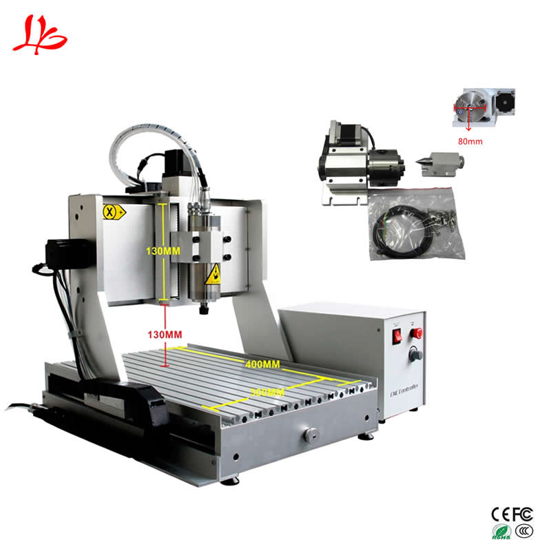 China CNC 3040 4axis CNC Router Engraving Machine metal aluminum mill work stroke 400x300x130mm 6090 cnc router china price hobby cnc machine