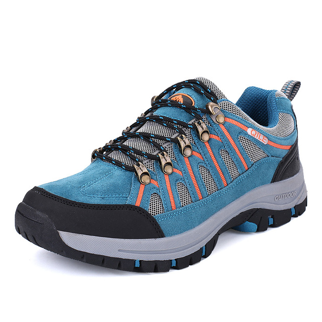Men Mountain Hiking Shoes Big Size Leather Hunting Boots Autumn Winter Mens Outdoor Sport Shoes Blue Moutain Climbing Sneakers T