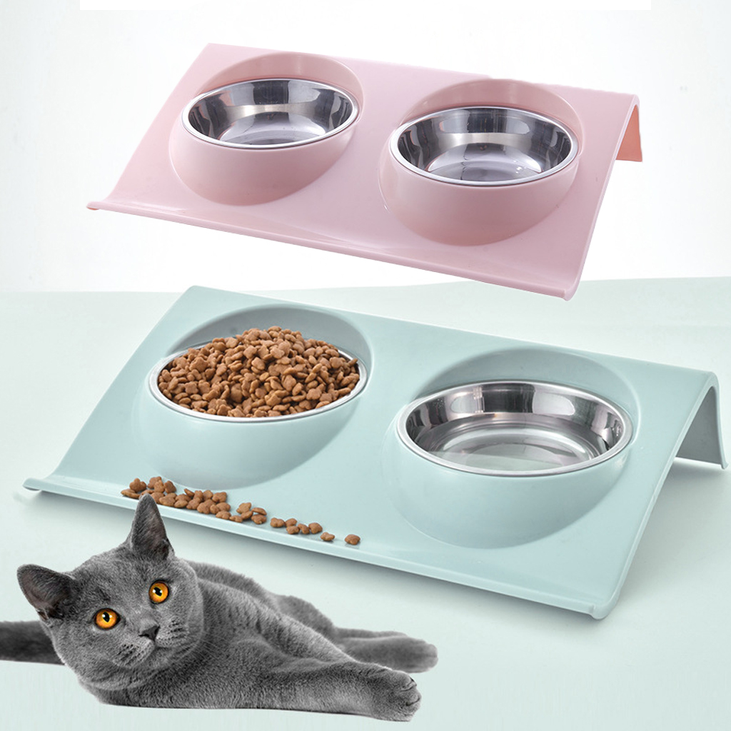 Thicken Pet Food Bowl Non-Slip Pet Bowl Double Bowl Pet Stainless Steel Bowl Food Water Feeder Puppy Cat Supplies Feeding Dishes
