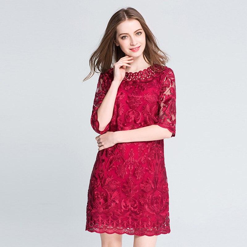 Frauen rote Spitze Stickerei Plus Size Kleider Herbst elegante große - Damenbekleidung - Foto 2