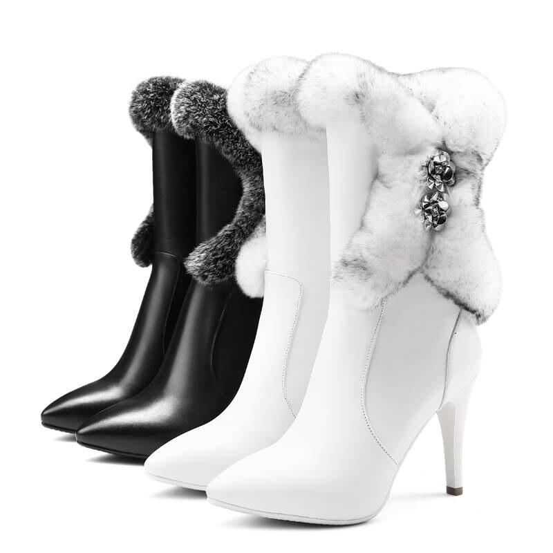 Véritable 2018 Cuir Talons Hauts Hiver Bottes Pour Tirette Noir Femmes De Fourrure blanc À Rhinstone Bout Nouveau Mode Mi Pointu mollet Asumer 7f5qZq