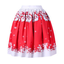 Women's Sexy Christmas Santa Printed Swing Performance A-Line Loose Skirt Winter red fashion casual skirt(China)