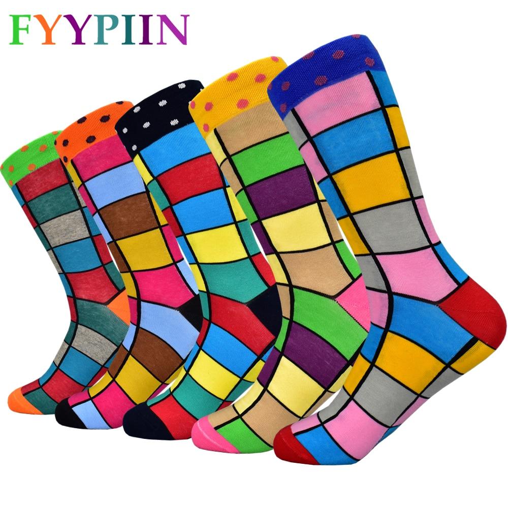 2019 Men's New Combed Cotton Socks Fashion Design Colorful Squares Business Banquet Entertainment Happy Socks Men
