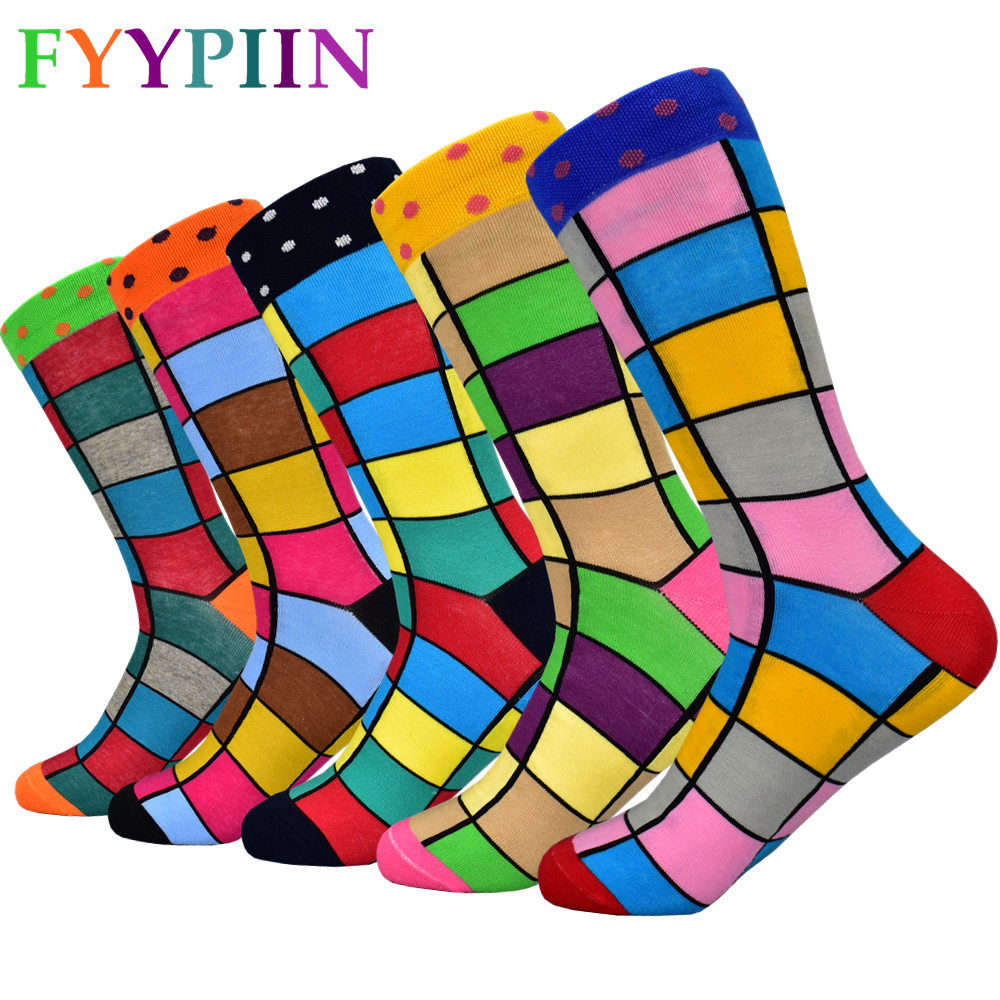 2020 Men's New Combed Cotton Socks Fashion Design Colorful Squares Business Banquet Entertainment Happy Socks Men