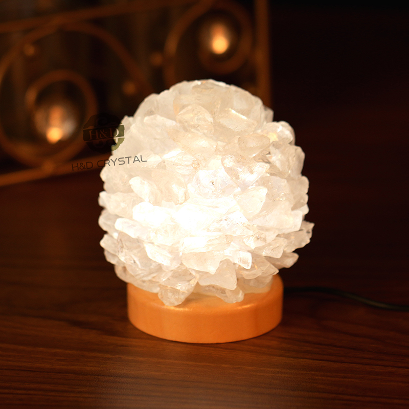 Night Sleeping Lights Lamp 4u0027u0027 USB LED Lava Lamp White Rock Crystal Quartz  Wooden Base Emergency Light For Bedroom Creative Gift In Figurines U0026  Miniatures ...
