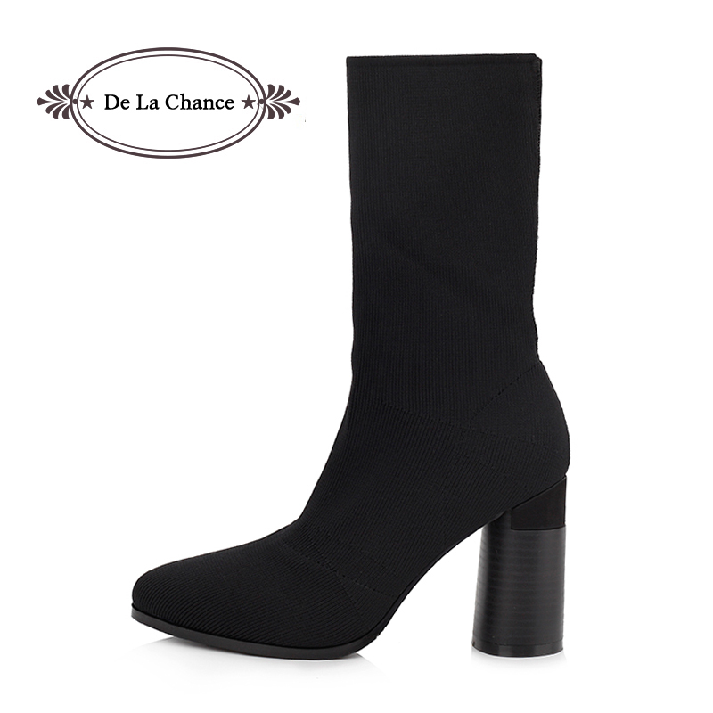 De La Chance 2017 Winter Pointed Toe Elastic Sock Ankle Boots Thick Heel High Heels Shoes Woman Female Women Pumps Chunky Boots fashion kardashian ankle elastic sock boots chunky high heels stretch women autumn sexy booties pointed toe women pumps botas