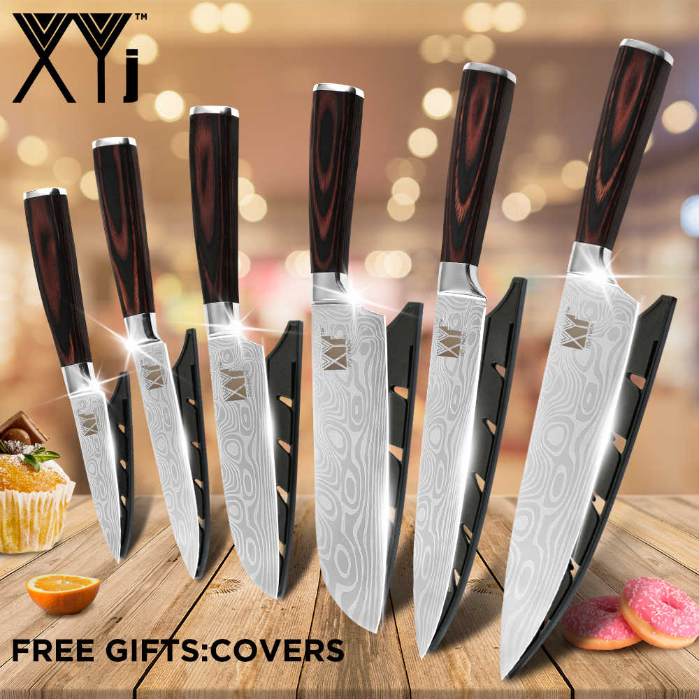XYj Cooking Tools 6pcs Kitchen Knife Set Utility Cleaver Paring Chef Santoku Knife Slicing Vegetable Stainless Steel Knife Sets