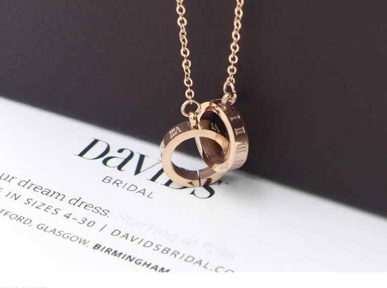 Famous Brand Stainless Steel Rose Gold Color Love Roman Numerals Double Circle Pendant Necklace Women Party Gift