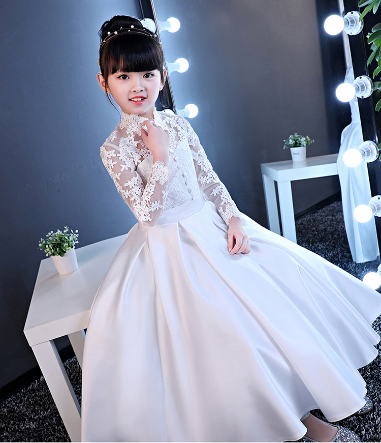 Pretty White Satin Long Sleeves Flower Girl Dresses Princess Dresses