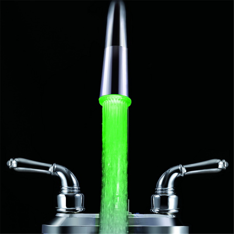 LD8002-A1 Top Quality Colorful Illuminated water glow led tap light in green color with adaptors and color box