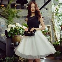Original 2017 Brand Black And White Summer Vintage Elegant Casual Tank Lace Patchwork Mesh Hem Dress