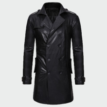 Jackets Men Motorcycle Coat Males Autumn Men's Casual Cool Black PU ML297 2109 Medium-Length