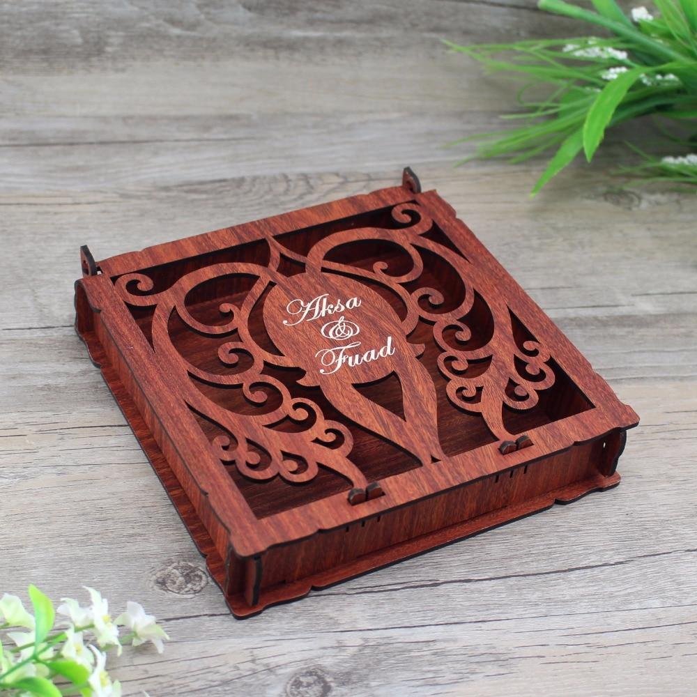 100 Piece Elegant Invitation Card Box,Customized Wooden Wedding Invitation Box ,Handmade Greeting Card Box,Wooden Jewelry Box