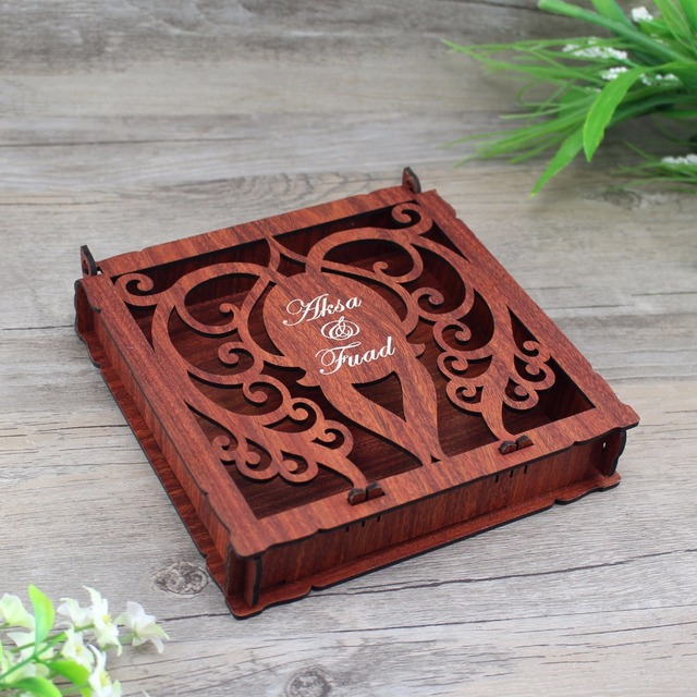 100 Piece Elegant Invitation Card Box,Customized Wooden Wedding ...