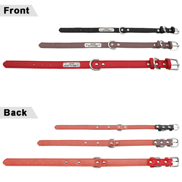 PU Leather Dog Collar Durable Padded Personalized Pet ID Collars Customized for Small Medium Large Dogs Cat Red Black Brown 4
