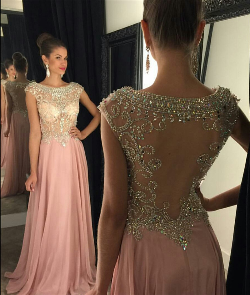 Fashion Scoop Chiffon A Line Crystal Beaded A Line Backless Off