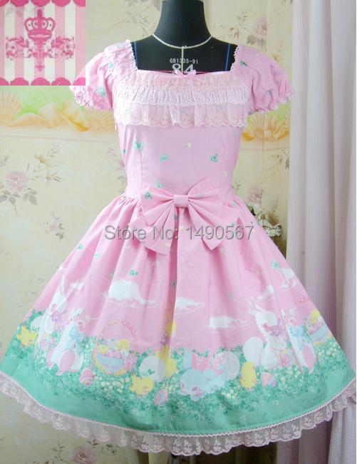 Pink Short Sleeve Gothic Lolita Dress for Girls Cocktail Dress Halloween Costume S L
