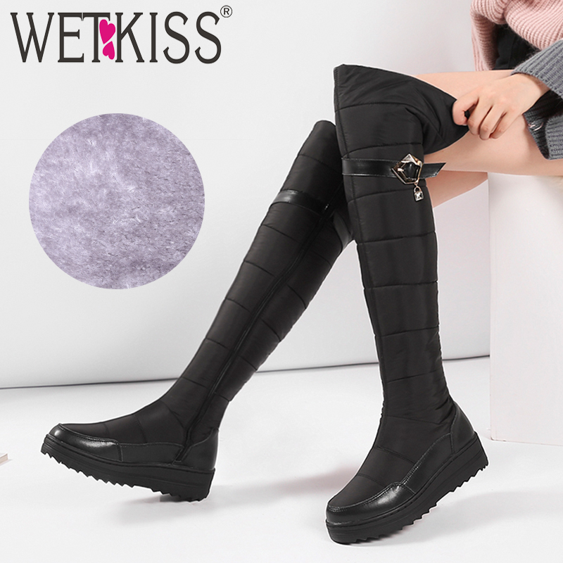 WETKISS Down Cotton Warm Women Boots Round Toe Footwear Platform Female Boot Leather Over The Knee Shoes Women 2018 Winter NewWETKISS Down Cotton Warm Women Boots Round Toe Footwear Platform Female Boot Leather Over The Knee Shoes Women 2018 Winter New