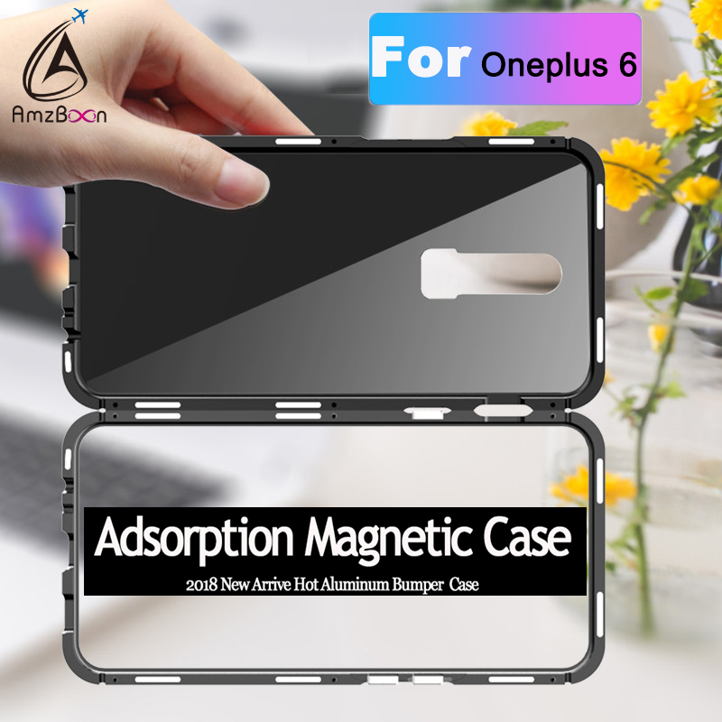AmzBoon Magneto Magnetic Adsorption metal case For Oneplus6 case luxury tempered glass cover case For Oneplus 6 1+6 Glass shell