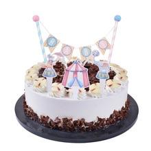 Pink Blue Cirque Du Baby Cake  Banner Cupcake Topper 1st Birthday Shower Cartoon Animal Elephant Fox Carnival Party Supplies цена и фото