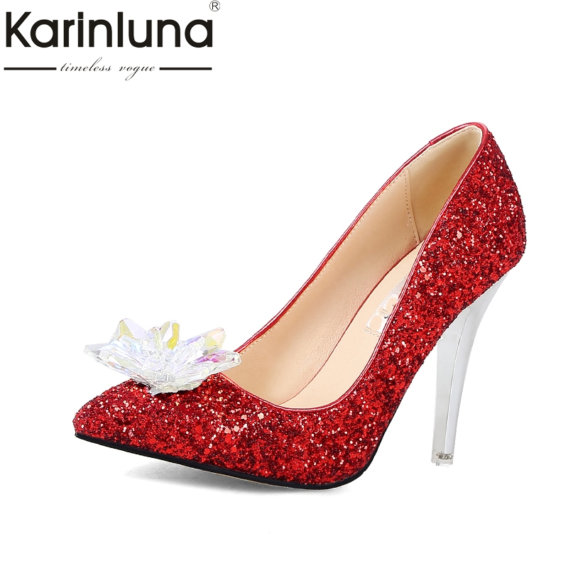 KARINLUNA 2018 Large Size 34-43 pointed Toe Women Shoes Woman Sexy Bling slip on Thin High Heels Party Wedding Pumps enmayer spring autumn women fashion wedding pumps shoes rhinestone beading pointed toe slip on thin heels large size 34 43 white