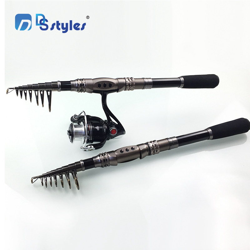 DSstyles Carbon 1.8M 2.1M 2.4M 2.7M 3.4M Portable Telescopic Fishing Rod Spinning Hand Tackle Sea Rod Fishing tackle accessory