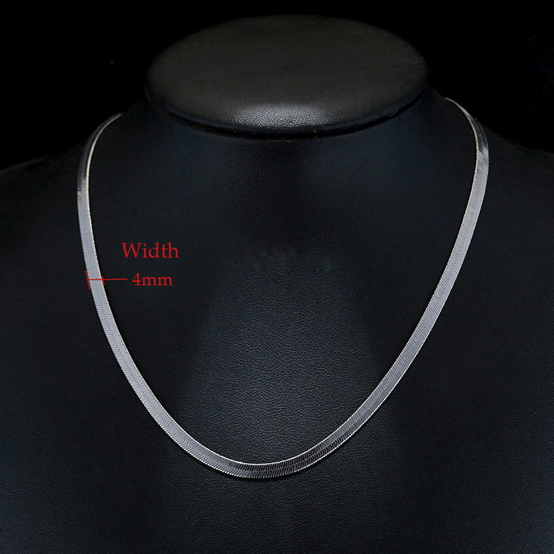 Men Womens Silver Plated 6mm Flat Snake Chain Choker Necklace 17 Inch