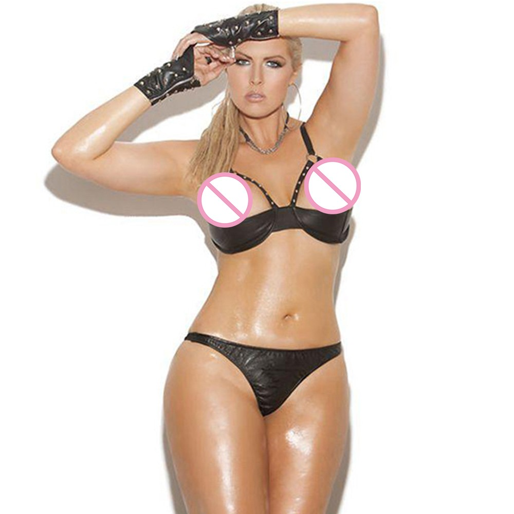 9f45260729 Plus Size XL Sexy Lingerie set Cheap Black Rivet Half Bra and G-string Vinyl