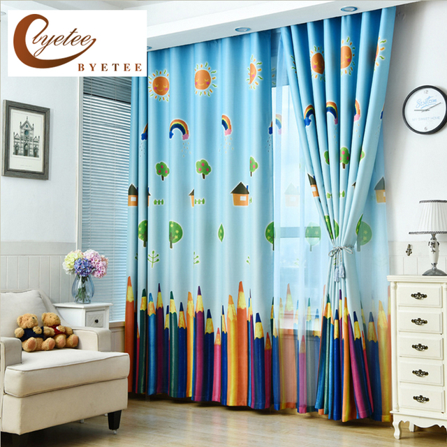 [byetee] New Curtains Blackout Curtain Fabric Pencil Pattern Boys Girls  Kids Room Curtains Bedroom